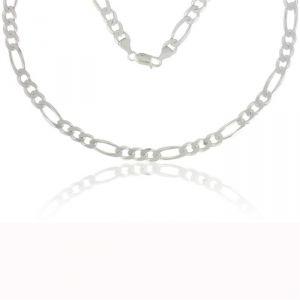 Rêve de diamants CDMCAG5 - Collier maille alterné 1+3 de 50 cm en argent rhodié 925/1000