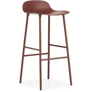 Normann Copenhagen Tabouret de bar Form structure acier 75cm - rouge/assise polypropylène/structure acier laqué/LxHxP 44x87x44cm