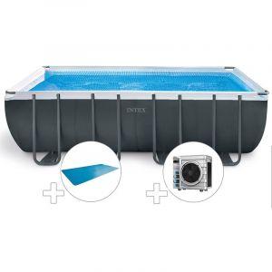 Intex Kit piscine tubulaire Ultra XTR Frame rectangulaire 5,49 x 2,74 x 1,32 m + Bâche à bulles + Pompe à chaleur