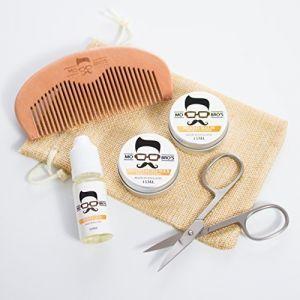 Mo Bro's Kit soin de la barbe : cire à moustache, baume à barbe, huile, peigne, ciseaux et sac cadeau