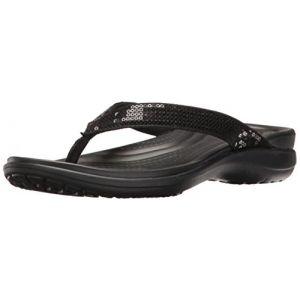 Crocs Capri V Sequin Flip, Sandales Femme, Noir (Black), 37-38 EU