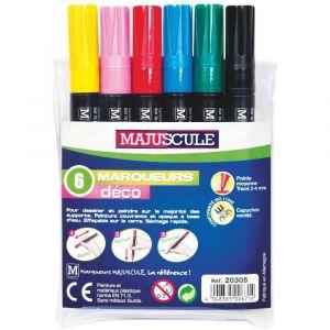 Majuscule Marqueurs peinture pointe moyenne coloris assortis - Pochette de 6