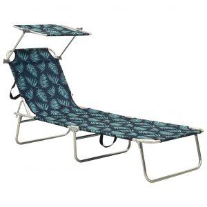 VidaXL Chaise longue pliable avec auvent Acier Motif de feuilles
