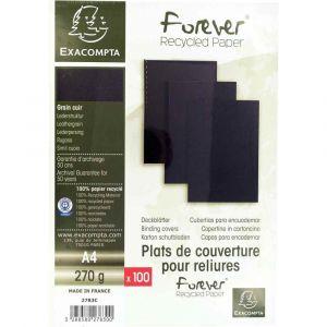 Exacompta 2783C - Paquet de 100 plats FOREVER, carte 270 g/m², grain cuir, coloris noir