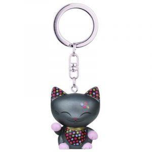 Kontiki Porte clé chat porte bonheur Mani the Lucky Cat anthracite collier doré