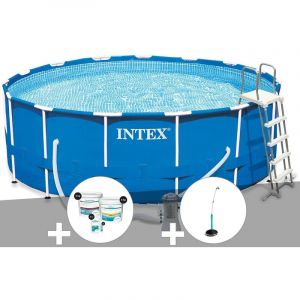 Intex Kit piscine tubulaire Metal Frame ronde 4,57 x 1,22 m + Kit de traitement au chlore + Douche solaire
