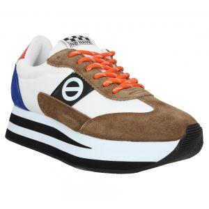 No Name Chaussures Flex Jogger suede toile Femme Marron Blanc Marron - Taille 36,37,38,39,40,35