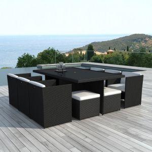 Delorm Design Ensemble table + 6 fauteuils + 4 poufs Swithome Pasai Résine Tressée Noir/Blanc