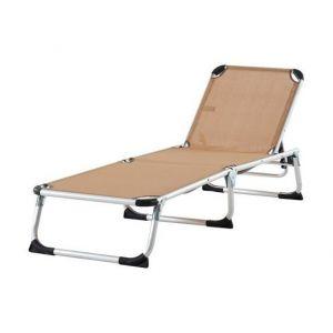 Beau Rivage Chaise longue aluminium et textilène Monoi - Taupe - Chaise longue - Structure en aluminium et textilène - Dimensions : 187x59x30cm - Coloris : taupe.