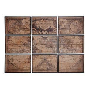 Aubry Gaspard Mappemonde en bois 9 cadres