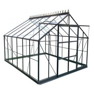 Serre de jardin 10,92m² en al ini anthracite et verre trempé 4mm Green Protect