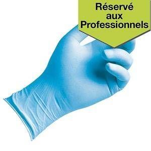 Gants ambidextres en nitrile non poudrés hypoallergéniques - Taille L - bleu - boîte de 100