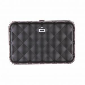 Ögon Designs Ögon QB-Black Porte-Cartes Quilted Button Aluminium matelassé Fermoir en métal Noir