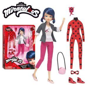 Bandai Poupée Marinette 26 cm et ses 2 tenues Miraculous