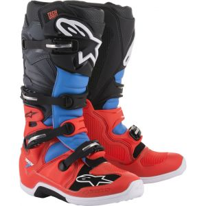 Alpinestars Tech 7 Red Fluo Cyan Gray Black - Bottes cross