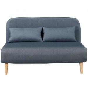 BEDZ Banquette BZ 2 places - Tissu bleu acier - Scandinave - L 132 x P 90 cm - BZ - 2 places - Tissu bleu acier - Scandinave - Assise : L 132 x P 65 cm - Ferme