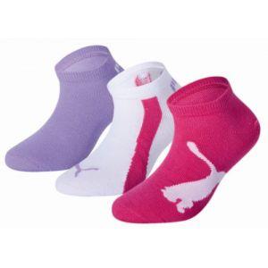 Puma Lot de trois paires de chaussettes pour basket Lifestyle pour enfant, Violet/Blanc, Taille 35-38  