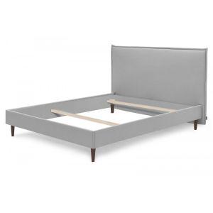 Bobochic Structure de lit SARY pieds bois wengé 140 x 190 cm Gris