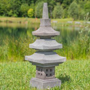 Wanda-collection Lanterne japonaise pagode en pierre de lave 90 cm
