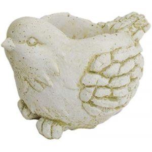 Deco granit Cache pot en pierre reconstituée oiseau