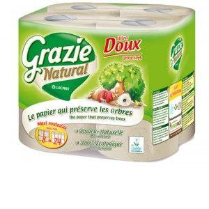 Grazie Natural Papier Toilette Recyclé 2 Plis - Lot de 8 Rouleaux