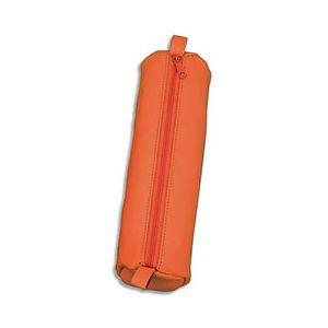 Juscha Trousse ronde en cuir - 21 x 6 cm - orange