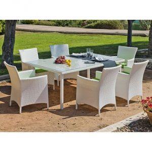 Hévéa Sandra - Ensemble de table et 4 chaises de jardin