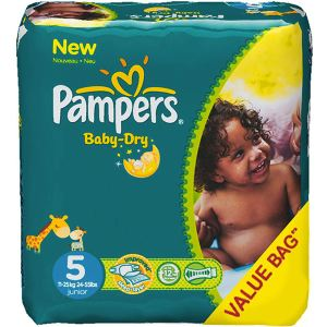 Pampers Baby Dry taille 5 Junior (11-25 kg) - Pack économique x 144 couches