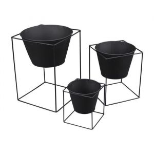 Set de 3 pots sur pied carré en métal Graphic Ethnic - Ø15xH16,5cm - Ø20,5x26cm - Ø25x35cm - Noir