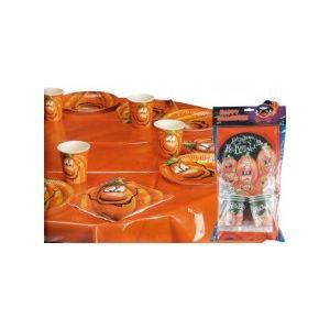 Set de table Halloween citrouille (6 assiettes, 6 gobelets, 6 serviettes et 1 nappe)
