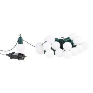 Lunartec Guirlande guinguette 4,75 m 20 ampoules LED 1W - Blanc chaud