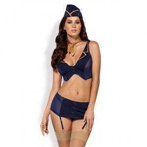 Obsessive Costume d'Hôtesse de l'Air Sexy 5 Pièces Bleu / Or L/XL (40/42)