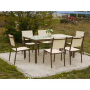 Table de jardin Santiago en aluminium avec 6 chaises