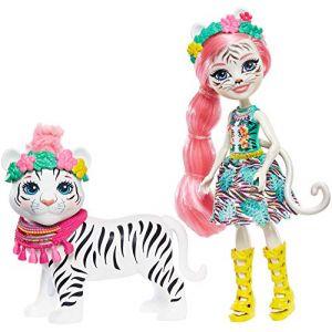 Mattel Enchantimals Mini-poupée Tadley Tigre et Figurine Animale Kitty aux Long Cheveux Roses avec Jupe à Motifs en Tissu, Jouet pour Enfant, Gfn57