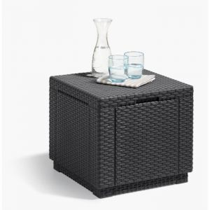 Allibert Table cube imitation rotin tressé avec rangement 60 L