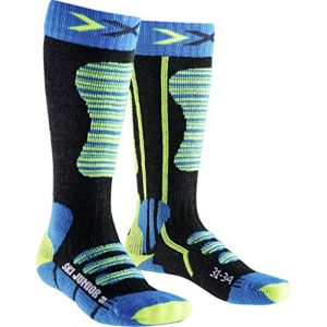 X-Socks Junior Chaussettes de Ski Garçon, Turquoise/Jaune, FR : XL (Taille Fabricant : 35-38)