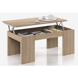 Pegane Table Basse à Plateau Relevable coloris chêne canadien - Dim : 100 x 50 x 42 cm