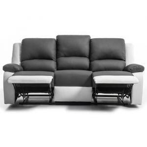 RELAX Canapé de relaxation droit 3 places Simili gris et blanc Contemporain L 190 x P 93 cm