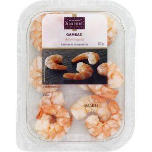 Monoprix gourmet Gambas décortiquées cuites réfrigérées, fermes et croquantes - Le paquet de 110g