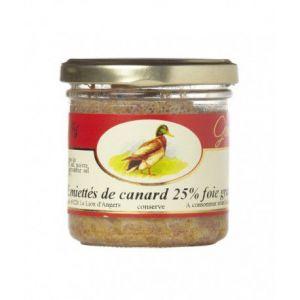 Les treilles gourmandes Emietté de canard, 25 % de foie gras, Verrine 125 gr