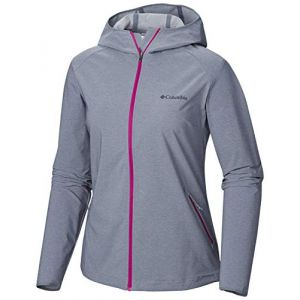 Columbia Femme Veste Softshell à Capuche, HEATHER CANYON SOFTSHELL JACKET, Polyester, Gris (Grey Ash Heather), Taille: S, WL1173