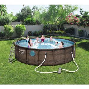 Bestway Piscine Power Steel Swim Vista Pool D4.88m H1.22m imitation tressé + hublots