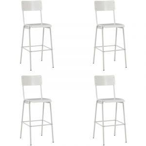 VidaXL Chaises de bar 4 pcs Blanc Contreplaqué solide et acier