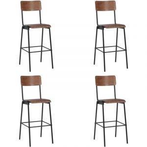 VidaXL Chaises de bar 4 pcs Contreplaqué solide et acier