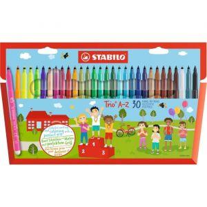 Stabilo Trio A-Z Assorted Colour Fibre Tip Pens - 30 Pack