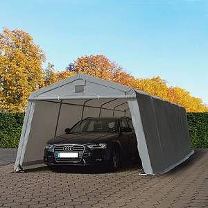 Intent24 Abri/Tente Garage Premium 3,3 x 7,7 m pour Voiture et Bateau - Toile PVC 500 g/m² imperméable Gris .FR
