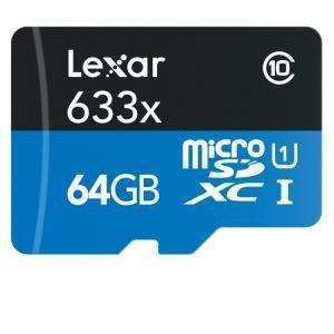 Lexar LSDMI64GBBEU633R - Carte mémoire microSDXC UHS-I 64 Go classe 10 avec lecteur USB 3.0