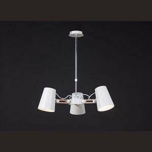 Mantra Suspension Looker Blanc, Bois foncé, 3 lumières