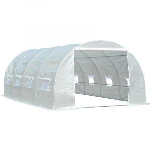 Outsunny Serre de Jardin Tunnel Surface Sol 18 m² 6L x 3l x 2H m châssis Tubulaire renforcé 24 mm 8 fenêtres Blanc