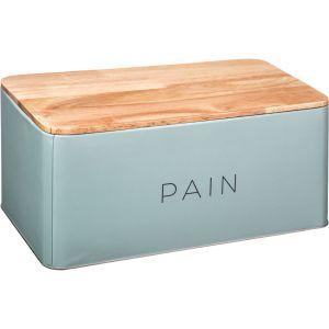 """Boîte à Pain en Métal & Bois """"Baltik"""" 31cm Bleu"""